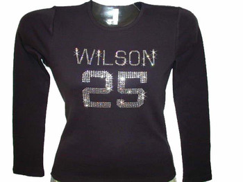 Rhinestone Football Jersey T Shirt made with Swarovski crystals