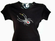 Bling Halloween Spider Swarovski Crystal Rhinestone T Shirt