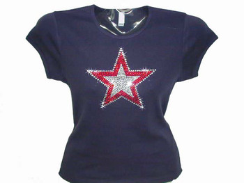 Bling Patriotic Sparkly Star Rhinestone T Shirt