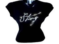 Sting Swarovski Crystal Rhinestone Bling T Shirt Top