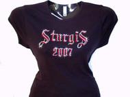 Sturgis Swarovski crystal rhinestone ladies tee shirt