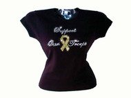 Support Our Troops Yellow Ribbon Swarovski Crystal Rhinestone T Shirt Top