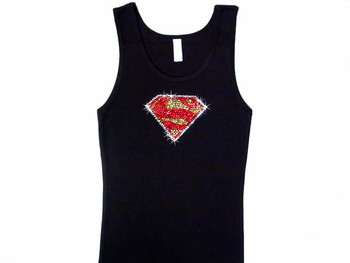 Bling Superman Rhinestone Studded T Shirt or Tank Top