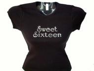 Sweet Sixteen 16 Swarovski Crystal Rhinestone T Shirt