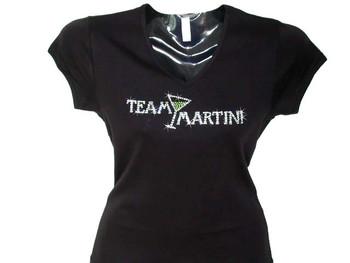 Team Martini Swarovski Crystal Rhinestone T Shirt