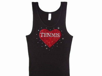 Tennis Heart Rhinestone T Shirt Tank Top