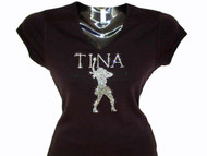 Tina or Personalized Name Swarovski Crystal Rhinestone Studded Concert Tour Tee Shirt