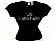 U2 Hello Swarovski Crystal Rhinestone Concert Tour Ladies T Shirt Top