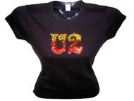 U2 Swarovski Crystal Rhinestone Bling T Shirt