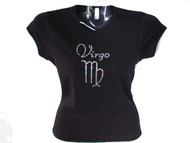 Virgo Bling Astrological Sign Swarovski Rhinestone T Shirt