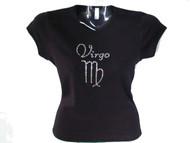 Virgo Swarovski crystal rhinestone sparkly women's t shirt
