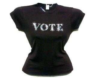 Vote Swarovski Crystal Rhinestone T Shirt