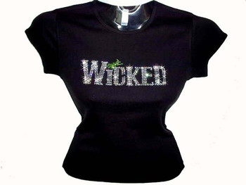 Wicked Halloween Swarovski crystal custom rhinestone bling t shirt