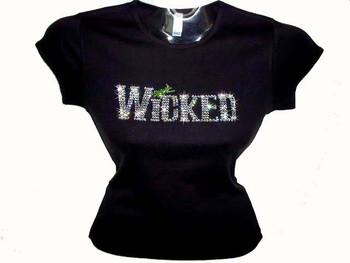 Wicked Halloween Swarovski crystal custom rhinestone bling t shirt