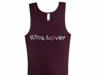 Wine Lover Swarovski Rhinestone T Shirt Tank Top