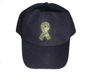 Support Our Troops Yellow Ribbon Rhinestone Baseball Cap