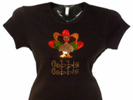 Thanksgiving turkey Swarovski crystal rhinestone bling t shirt