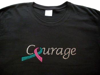 Hereditary Breast Cancer Pink Ribbon Courgage Swarovski Rhinestone T Shirt