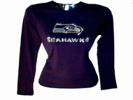 Seahawks Rhinestone T Shirt made with Swarovski crytals