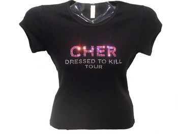Cher Dressed To Kill Rhinestone Concert T Shirt