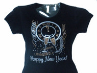 New Year's Eve Happy New Year Swarovski crystal rhinestone t shirt