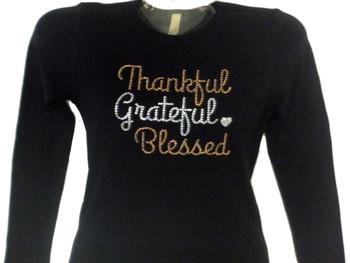 Thankful Grateful Blessed sparkly Thanksgiving rhinestone t shirt