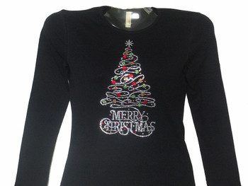 Merry Christmas Swarovski crystal ladies tee shirt
