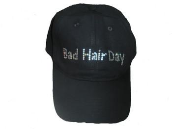 Bad or No Hair Day Sparkly Rhinestone  Cap Hat