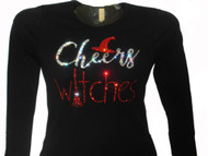 Cheers Witches sparkly rhinestone Halloween shirt