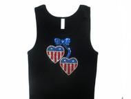Patriotic USA Hearts Swarovski Rhinestone Tank Top