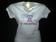 Patriotic Let Freedom Ring Swarovski crystal rhinestone t shirt
