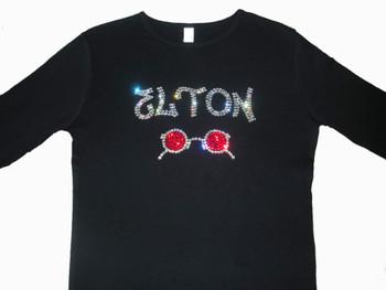 Elton John Swarovski rhinestone sparkly concert t shirt