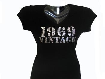 Custom Birthday birth year Vintage Swarovski crystal rhinestone tee shirt