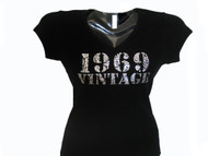 Custom Birthday birth year Vintage Swarovski crystal rhinestone tee shirt
