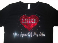 Custom Love of my life Swarovski crystal shirt