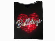 Gonzaga Bulldogs Heart Swarovski crystal rhinestone shirt