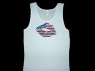 Sparkly patriotic red white & blue Swarovski rhinestone tank top tee shirt