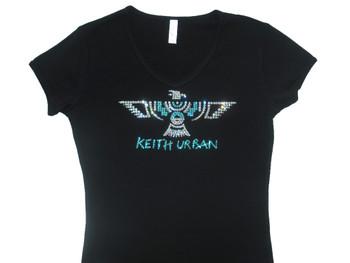 Keith Urban Tattoo Swarovski rhinestone concert t shirt.