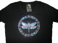 Dragonfly Swarovski rhinestone tee shirt