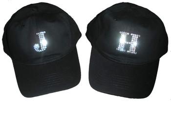 Custom Monogrammed Swarovski crystal rhinestone baseball cap hat