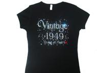 Vintage Birth Year Young At Heart Swarovski Rhinestone T Shirt