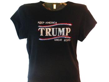 Keep America Great Trump 2020 sparkly rhinestone tee shirt