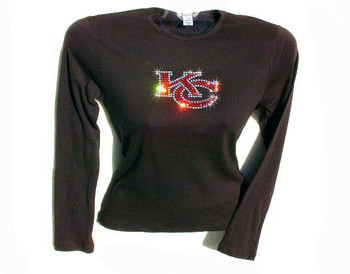 KC Kansas City Chiefs Swarovski crystal rhinestone t shirt