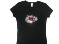 Kansas City Chiefs Swarovski rhinestone ladies sparkly t shirt