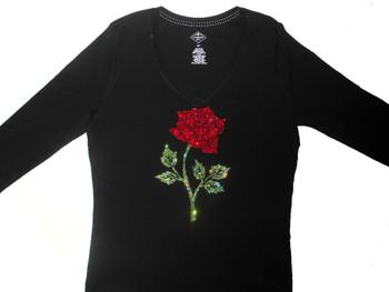 Red rose Swarovski rhinestone sparkly women's shirt