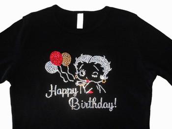 Betty Boop Happy Birthday Sparkly Rhinestone T Shirt made with Swarovski crystals.