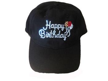 Happy Birthday sparkly Swarovski rhinestone baseball cap hat