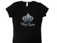 Bling Queen Crown Swarovski Crystal Rhinestone Sparkly Tee Shirt