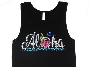 Aloha Hawaii Swarovski Rhinestone Tank Top T Shirt