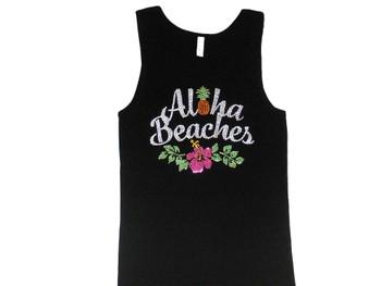Aloha Beaches Hawaii Sparkly Rhinestone Tank Top T Shirt